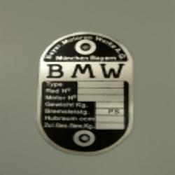 Typenschild BMW leer