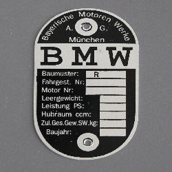 """Typenschild passend für Oldtimer BMW R4, R23, R35, R66, R71 Motorräder """"leer"""""""