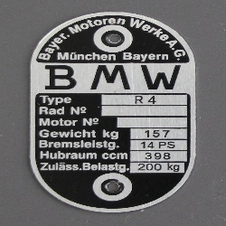 Typenschild BMW R4