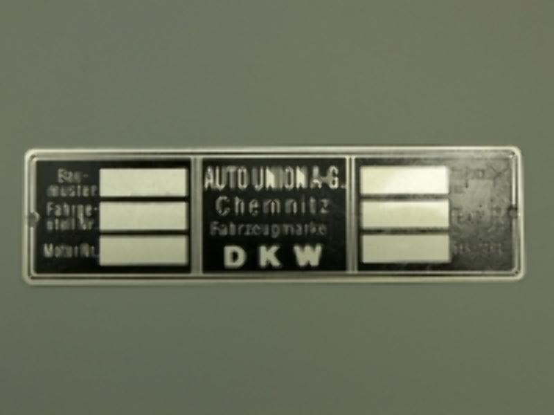 Typenschild DKW CHEMNITZ II leer