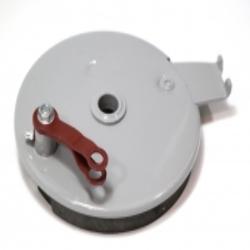 Bremsankerplatte für Hinterradnabe mit Bremsbackensatz DKW 350-1, IZ49 Gegenhalteplatte, neu, Replik