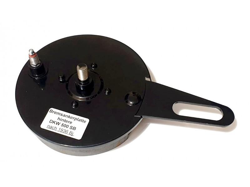 Bremsankerplatte für Hinterradnabe mit Bremsbackensatz DKW-Rad SB 500 ccm (nach 1936 Baujahr!) Gegenhalteplatte, Replik